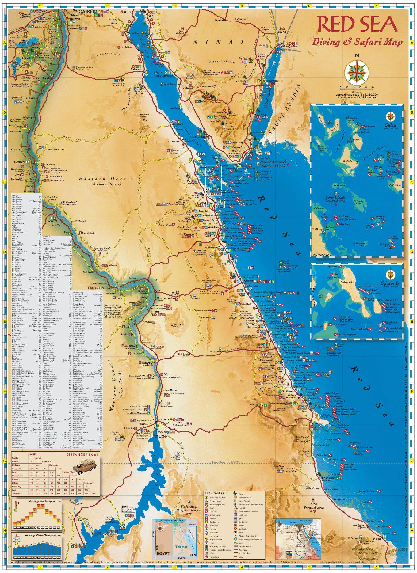Geodia Guide E Libri Sul Mondo RED SEA DIVING SAFARI MAP - Map of egypt red sea area