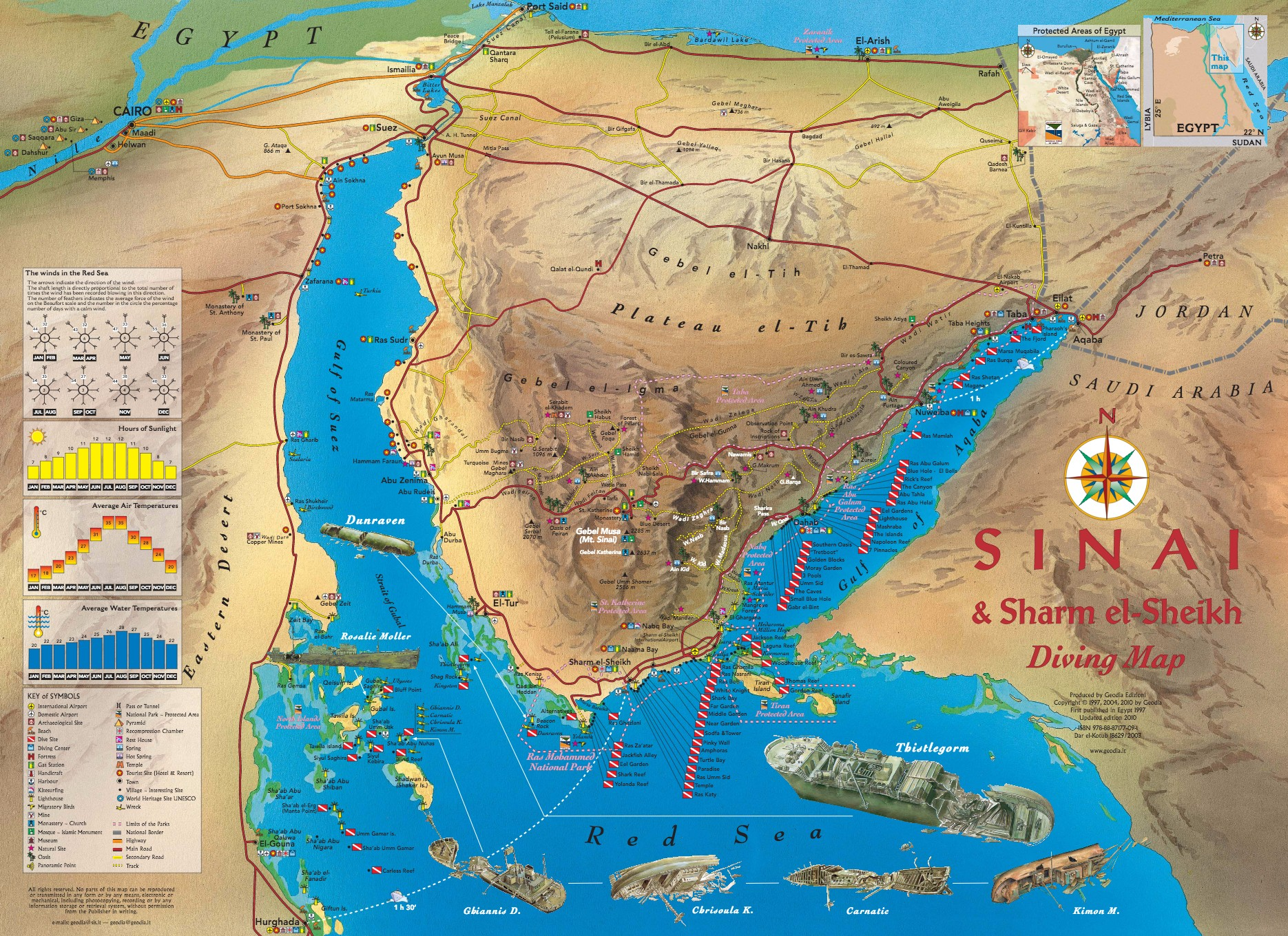 geodia guide e libri sul mondo  sinai  sharm el sheikh diving map - page page